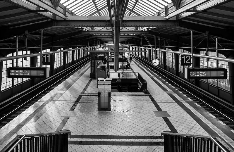 Architecture Built Structure Diminishing Perspective Empty High Angle View Illuminated No People Public Transportation Rail Transportation Railroad Station Railroad Station Platform Railway Track S-bahnhof Sbahnhof Station Subway Subway Station Transportation Building - Type Of Building