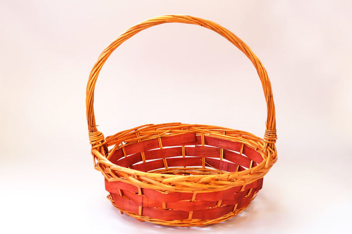 Basket isolated on white background, Basket for put gift Easter Holiday Isolated Weave Wicker Basket Close-up Day Festival Food Freshness Gift Gold Colored Grocery Indoors  Merry Christmas Miscellaneous  No People Object Picnic Basket Red Shopping Basket Studio Shot Whicker White Background