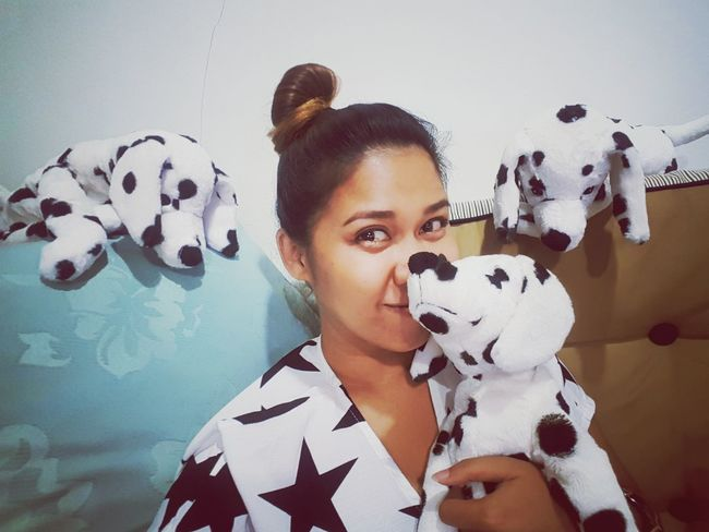 With my kids Stuffed Toy Toy Portrait Dogs Beautiful Woman Color Portrait Black & White Animal Spot Color Chilling At Home