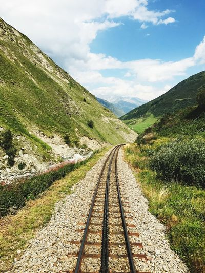 Perspectives On Nature EyeEm Selects Railroad Track The Way Forward Mountain EyeEmNewHere Nature Landscape first eyeem photo Switzerland Furkapass Dampflok Be. Ready.