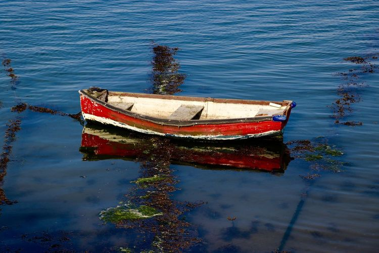 Reflections Water Nautical Vessel Moored Reflection Boat Tranquility Rowboat No People