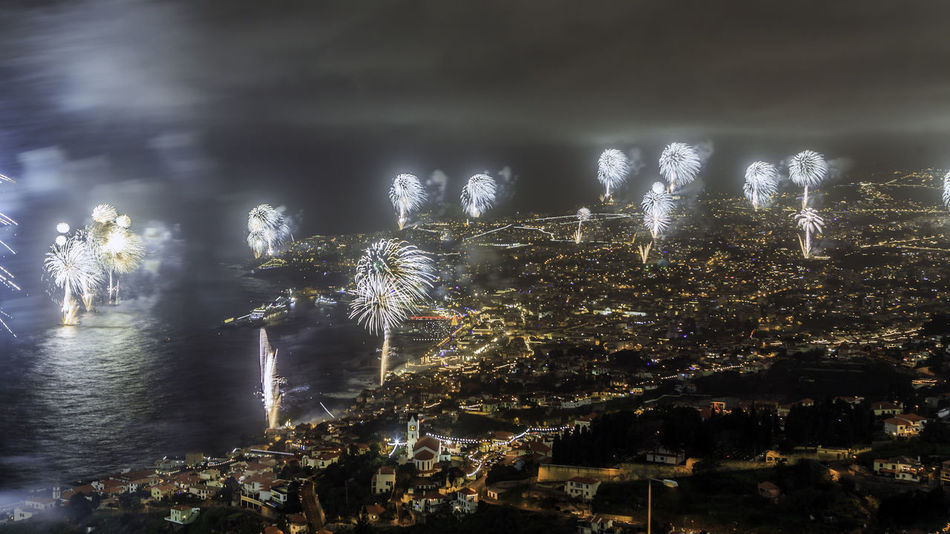 2017 New Year Beauty In Nature Celebration Cityscape Exploding Fireworks Fireworks Funchal Funchal Madeira Illuminated Madeira Island Nature Night No People Outdoors Reflection Scenics Sky Tree Water