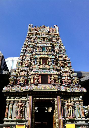 Main Entrance of Sri Mahamariamman Temple Bangkok Architecture Building Exterior Built Structure City Clear Sky Colorful Day Gate Hindu Temple Hindu Temples Historical Building Low Angle View Main Entrance No People Outdoor Outdoors Place Of Worship Sculpture Sky Travel Destinations