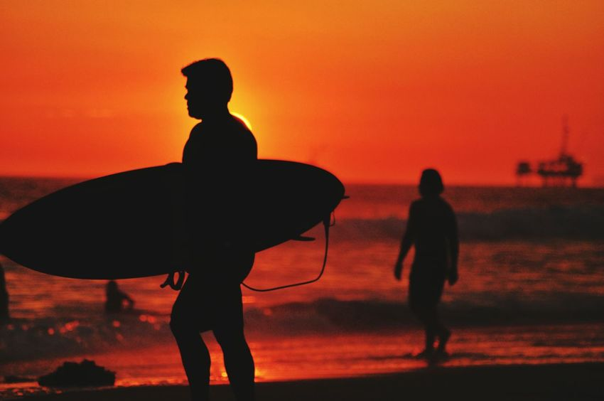 Sunset Sunset Silhouettes Silhouettes View Through My Lens Capture The Moment Beach Beach Life Waves AnonymousnateSilhouette Learn & Shoot: Single Light Source Surfing Water Pier Horizon Ocean Beautiful Day Ride A Wave Relaxing Sky Love People Still Life