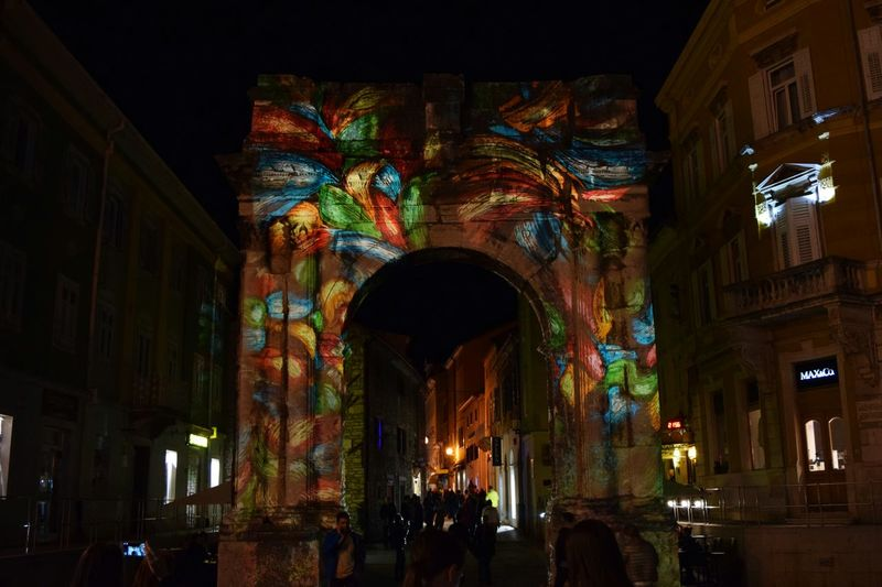 Visualia Pula Illuminated Multi Colored Architecture Night Visulia Pula Pula Pula Croatia Arch Arch Of The Sergii Antientcity