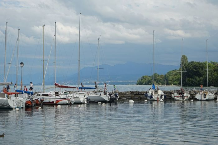 Yvoire, France Nautical Vessel Transportation Water Mode Of Transport Boat Nature Sky Mountain Scenics Beauty In Nature Cloud - Sky Outdoors Mast Real People Large Group Of People Genfersee Lac Léman Yvoire EyeEm Best Shots - Landscape Landscape Landscape_photography Landscape_Collection Horizon Over Water