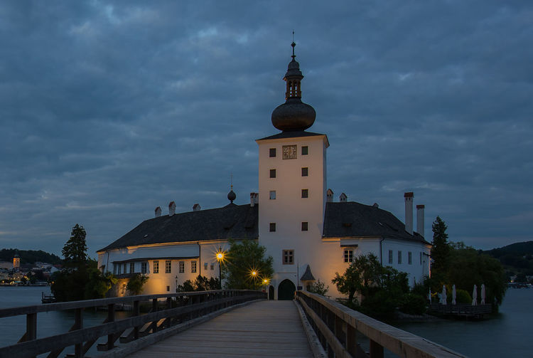 Salzkammergut, Austria Architecture Belief Building Building Exterior Built Structure Cloud - Sky Direction Dusk Illuminated Nature No People Outdoors Place Of Worship Religion Schloss Orth Sky Spirituality The Way Forward Tower Traunsee Water
