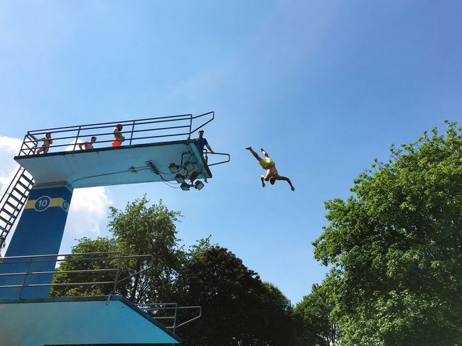 Hawk... Blue Sky Jump Jumping Flying Courage RISK Fun Summer Sports Tower Swimming Pool Swimming Original Experiences Showcase June Break The Mold