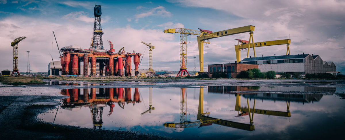 Harland and Wolff, Belfast Commercial Dock Construction Construction Site Copy Space Crane Crane - Construction Machinery Development Harbor Harland And Wolff Industry International Landmark Irela Nautical Vessel Northern Oil Outdoors Panorama Tit