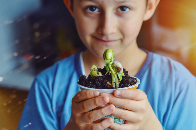 Close-up portrait of boy holding plant