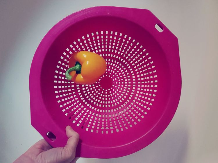 Yellow Pepper Pink Colander Womans Hand Healthy Eating Food Human Body Part Kitchen Kitchen Utensil Studio Shot Indoors  Close-up Day Neon Life Food Stories