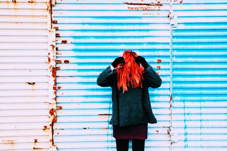 TakeoverContrast Standing Blue In Front Of Casual Clothing Person Day Multi Colored Corrugated Iron Modern Young Adult