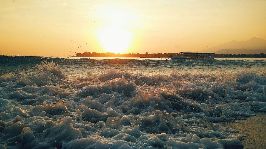 Creative Light And Shadow Lombok Sunrise Boat Waves Nature Landscape Travel Hello World Summer Views