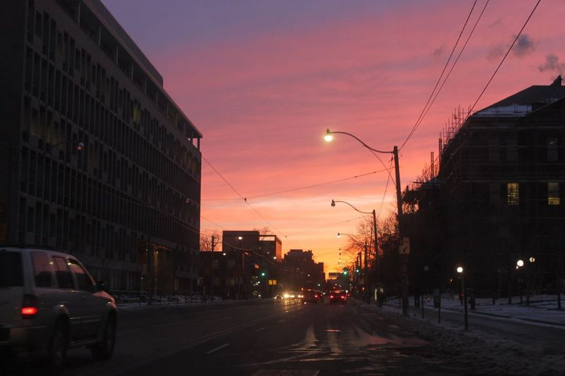 City street at sunset