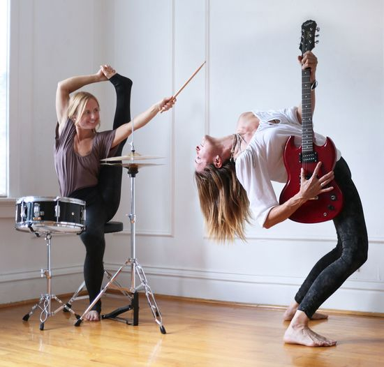 Band Music Yoga Yogogirls Hanging Out Playing Guitar Drums