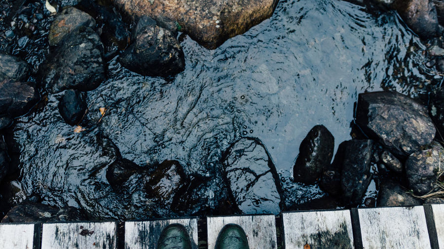 High Angle View Of Shoe On Footbridge Over River
