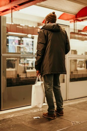 Rear View Full Length Bag Adult One Person Women Real People Standing Casual Clothing Lifestyles Travel Mode Of Transportation Indoors  Waiting The Art Of Street Photography