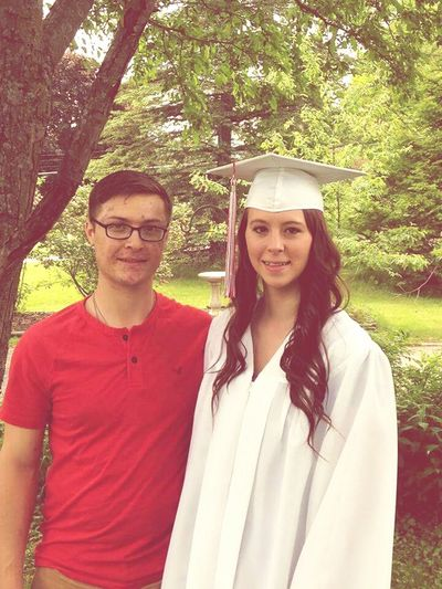 We really didn't want to take a picture Cheesin Graduation Classof2015 Boyfriend❤ Keeper Army Couple