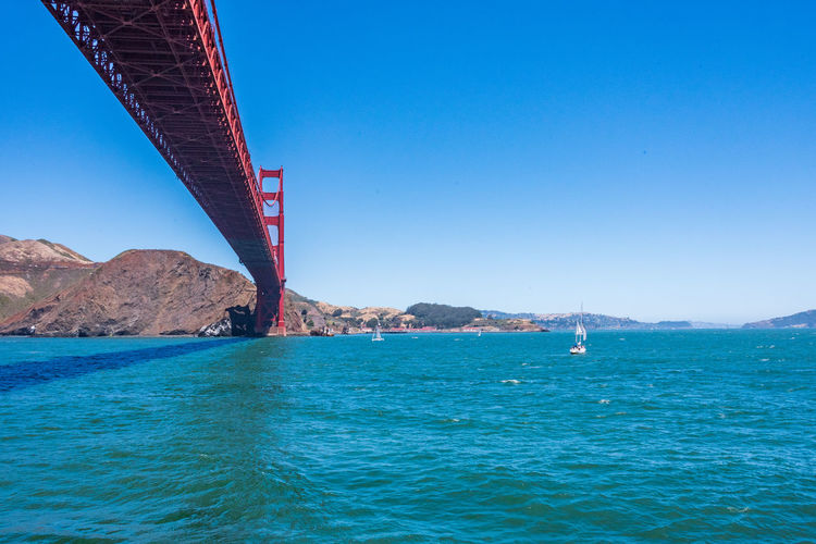 Golden Gate Bridge Sky Water Architecture Blue Nature Built Structure Transportation Connection Bridge Bridge - Man Made Structure Outdoors Sea Clear Sky Waterfront Scenics - Nature Mountain Day Beauty In Nature No People Travel Bay Turquoise Colored