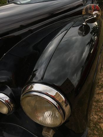 Old car Black Metal Car Motor Vehicle Mode Of Transportation Transportation Land Vehicle Headlight No People Retro Styled Vintage Car Reflection