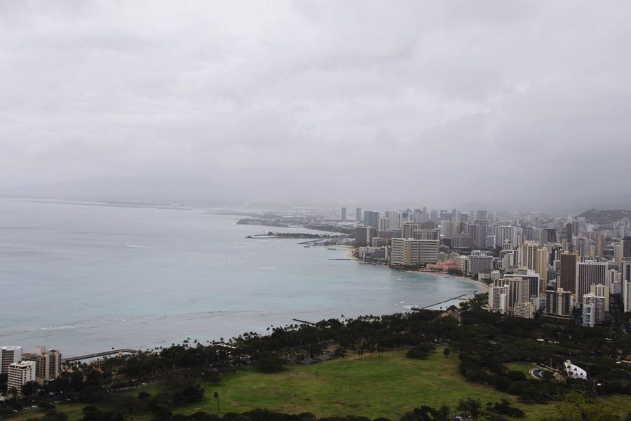 Hawaii America USA Travel Diamondhead Architecture Sea Water Built Structure City Building Exterior Sky Outdoors Day Skyscraper Cityscape Cloud - Sky Horizon Over Water No People Nature