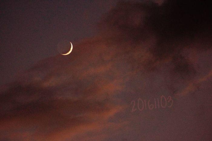 月 三日月 お月様 お月さん 夕月 夕空 夕焼け 地球照 Crescent Moon Earthshine 秋色 月_e_miray 細い月
