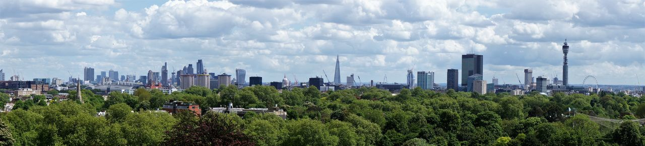 BT Tower London London Eye The Shard, London Architecture Built Structure City City Life Cityscape Cloud - Sky Day Modern Outdoors Panoramic Travel Destinations Tree Urban Skyline