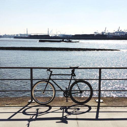 Hamburg Germany Spring This Week On Eyeem EyeEm Best Shots My Bike My Ride Outdoors IPhoneography Urban Geometry Harbour Single Speed Single Object Mood Elbe Bridge Boat