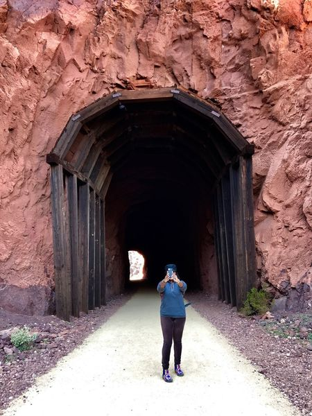 Selfie with tunnel Arch Real People Architecture Tunnel One Person Full Length The Way Forward Lifestyles Standing Built Structure Outdoors Day Nature People Railroad Tunnel Travel Hiking Trail Mobile Conversations