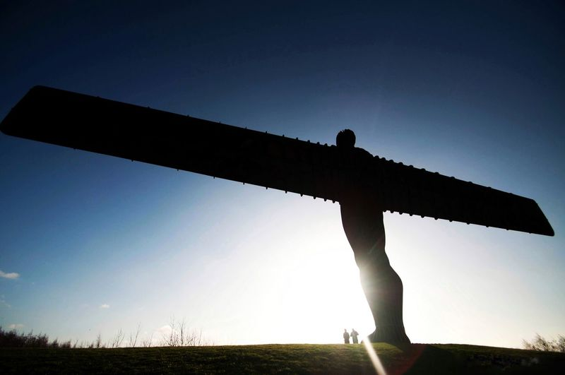 Angle of the north Angle Of The North Newcastle Upon Tyne Monument Silhouette One Person Real People Field Nature Outdoors Men Clear Sky