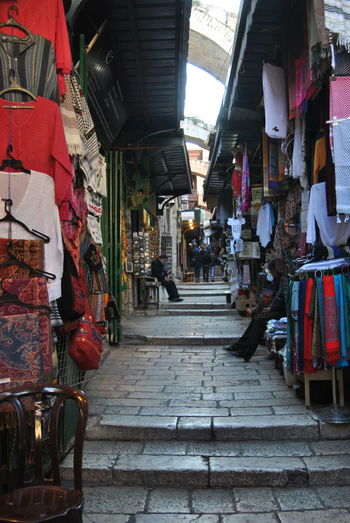 Series of the Christian Quarter. One of the four quarters of the walled Old City of Jerusalem, Architectural Column Architecture Built Structure Christian Quarter Day Diminishing Perspective Empty In A Row Jerusalem Narrow No People Old City Outdoors Red The Way Forward Vanishing Point Walkway