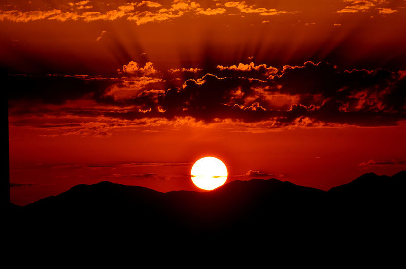 Amazing Sunset Sunset_collection Amazing Sunset! Beauty In Nature Big Sunset Dramatic Sky Idyllic Landscape Majestic Mountain Nature No People Orange Color Sardinia's Sunset Scenics Silhouette Sun Sunlight Sunset Sunset In Sardinia A New Beginning