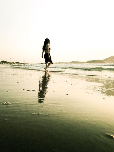 Beach Sand Sea Water One Person Reflection Nature Real People Outdoors Beauty In Nature Full Length Young Adult Scenics Clear Sky Day Standing Horizon Over Water Sky Ankle Deep In Water Young Women EyeEmBestPics EyeEm Best Shots EyeEm Selects The Week On EyeEm EyeEm Best Edits