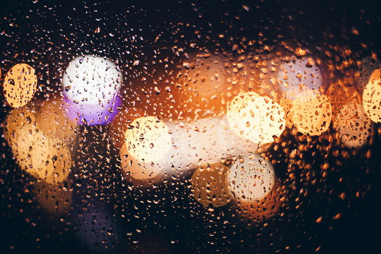 Drops Drop Collection Droplets On Glass Rain Raindrops Bokeh Bokeh Lights Evening