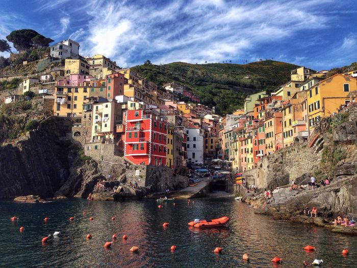 Riomaggiore, Cinque Terre, Italy Architecture Building Exterior Built Structure Cloud - Sky Outdoors Sky Sea Water Travel Destinations City Day No People Mountain Nautical Vessel Cityscape Cinque Terre Italy Riomaggiore