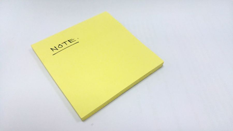 High angle view of text on paper against white background
