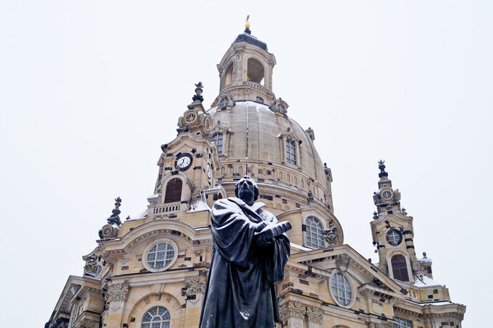 Architecture Building Exterior Built Structure City Clock Clock Tower Day Frauenkirche Low Angle View Luther Martin Luther Minimalist Architecture No People Outdoors Place Of Worship Religion Sculpture Sky Statue The City Light Travel Travel Destinations