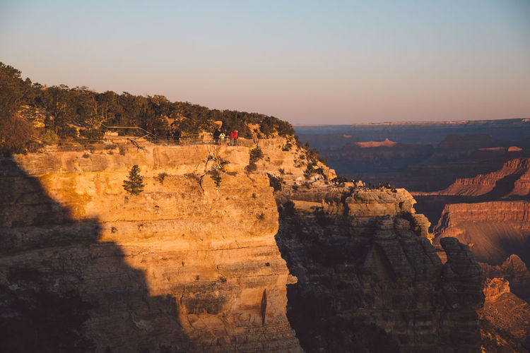 Scenic View Of Grand Canyon National Park Against Clear Sky During Sunset