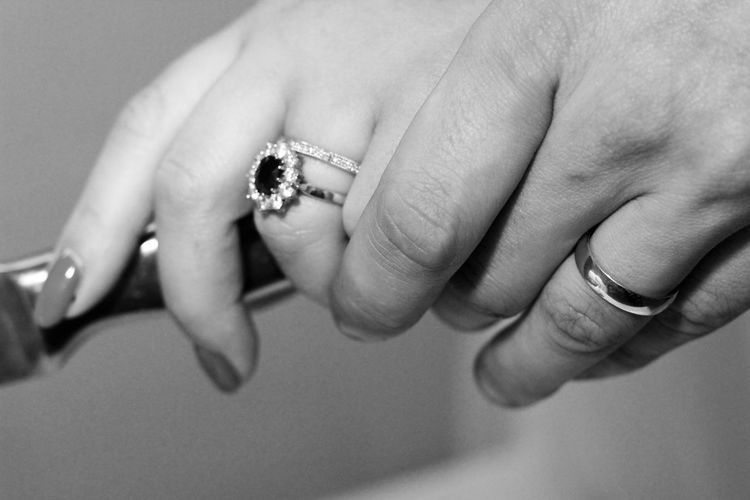 Cropped hands of couple