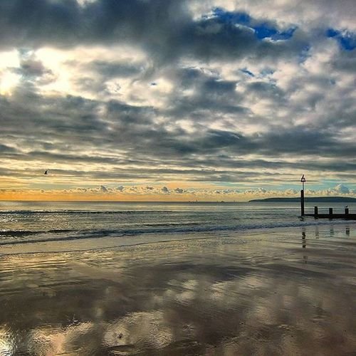""" The Groynes Pt 2 "" Bournmouth Beach Sunnyday Wintersun Shoreline Reflection Clouds November Groynes Beachscene Seashore Sea Englishchannel Shotoftheday Cloudsofinstagram Cloudsoftheday"