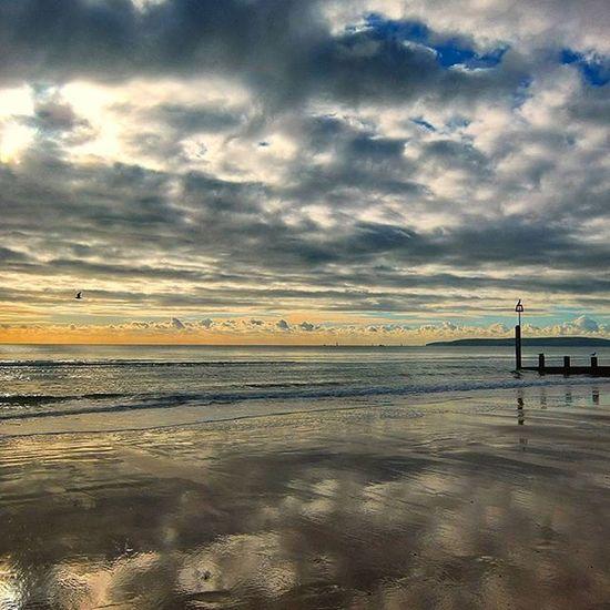 """ The Groynes Pt 2 "" Bournmouth Beach Sunnyday Wintersun Shoreline Reflection Clouds November Groynes Beachscene Seashore Sea Englishchannel Shotoftheday Cloudsofinstagram Cloudsoftheday"