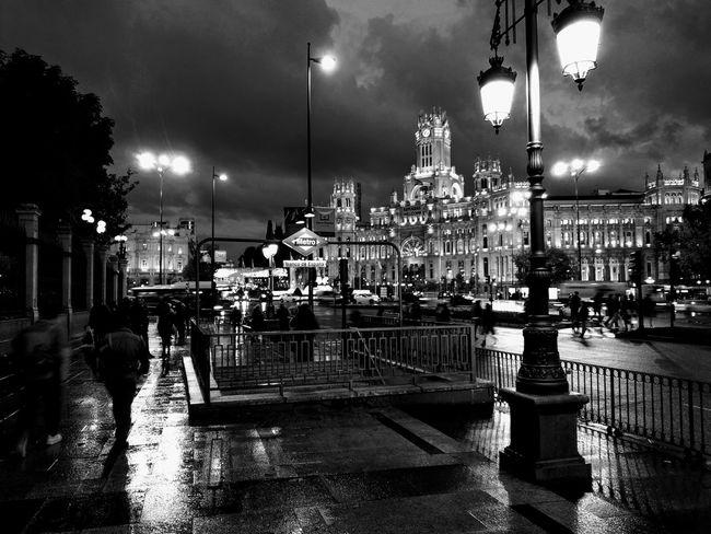 First Eyeem Photo SPAIN Madrid Travel Destinations Rainy Days Night Reflections Cibeles Palace