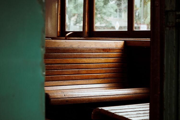 Wooden Bench In Room