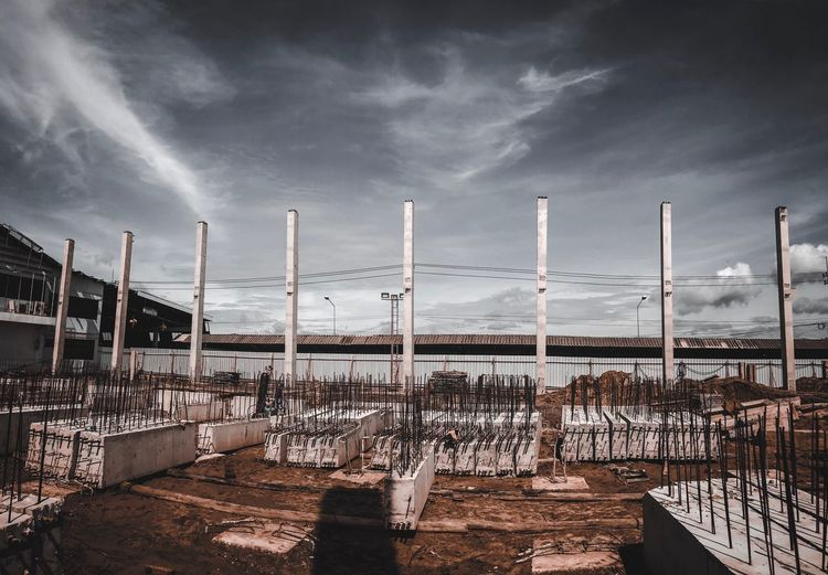 Panoramic view of construction site against sky