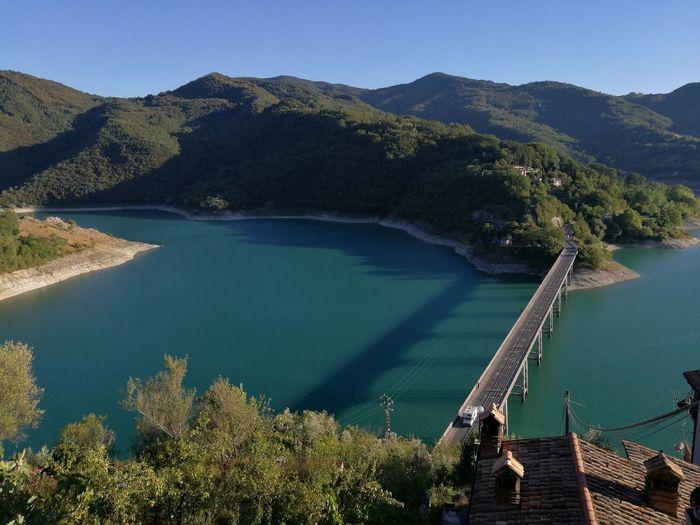 High Angle View Of Bridge Over Lake Lago Del Turano