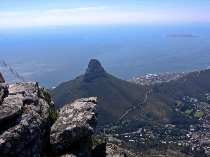 Cape Town Coastline Day High Angle View Horizon Over Water Landscape Lions Head Looking Down Mountain Rock Rock Formation Scenics Sea South Africa Water Showing Imperfection