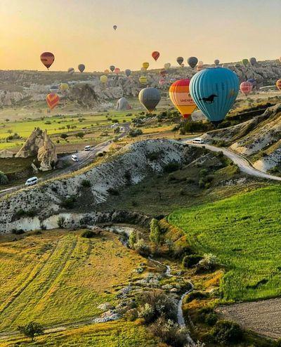 Hot Air Balloon Arts Culture And Entertainment Sunset Sky Grass