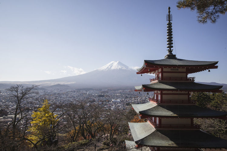 Chureito Pagoda with mount Fuji. Autumn Autumn Colors Japan Japanese  Japanese Culture Architecture Beauty In Nature Building Exterior Built Structure Day Fall Fog Mountain Mountain Range Nature No People Outdoors Place Of Worship Religion Scenics Sky Spirituality Temple Travel Destinations