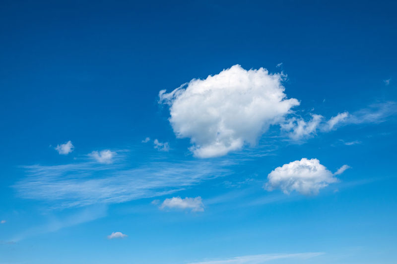 Some white cirrus cloud with blue sky. Cloud Sky Cirrus Veil Cloud Atmosphere Blue White Background Climate Weather Environment Bright Sunny Day Idyll Fleecy