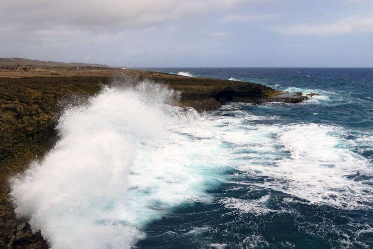 Beauty In Nature Caribbean Sea Cliff Crash Curacao Force Hitting Karibik Motion No People Outdoors Powerful Nature Scenics Shete Boka Waves Crashing Waves, Ocean, Nature